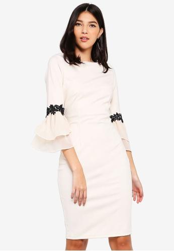 Paper Dolls beige Cream Fluted Dress AF9E8AA0D0F3FCGS_1