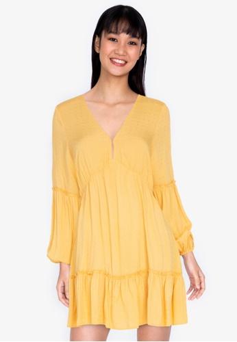 ZALORA BASICS yellow Puff Sleeve Mini Dress 601F7AA11253BAGS_1