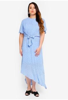 a77aaa44328 LOST INK PLUS blue Plus Size Tie Front Dress In Blue Spot 5E1EFAAF51D717GS 1