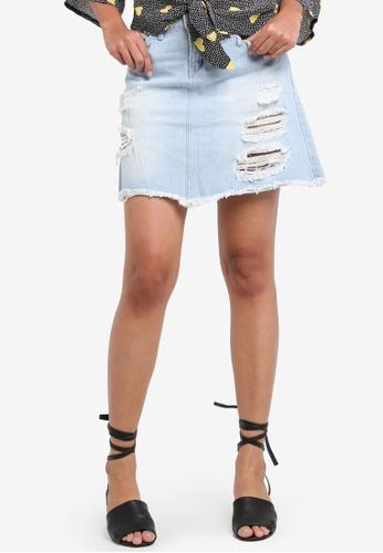 Penshoppe blue Regular Length A-Line Skirt With Distressed Effect E65C8AAB7ECE9CGS_1