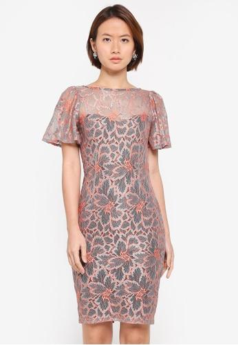 Paper Dolls grey Multi Flutted Sleeve Dress D088FAA79A1B6BGS_1