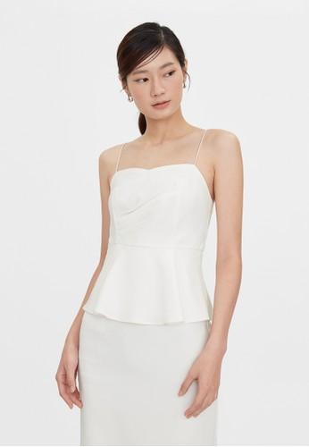 Pomelo white Cami Ruched Peplum Dress - White 230F2AA1020CD5GS_1