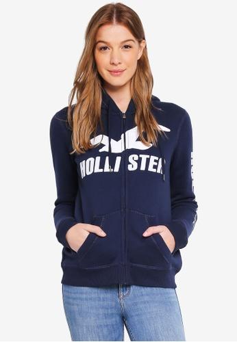 Hollister navy Tech Core Logo Street Hoodie 02E33AA504220EGS_1