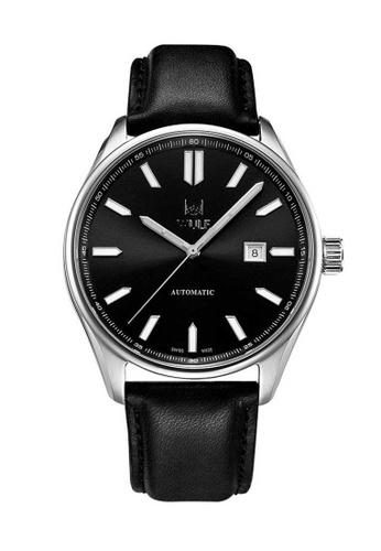 Wulf black Wulf Alpha Silver and Black Leather Watch BD975AC31FD3B6GS_1