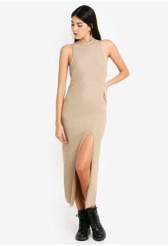 77c14207c5974 TOPSHOP brown Ottoman Metallic Thread Dress 69CB7AA9BE6EECGS 1