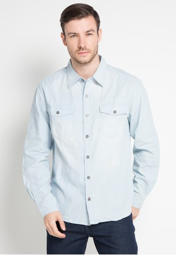 Bombboogie blue and multi Delinquent Chambray Shirt F10D6AA035306BGS_1