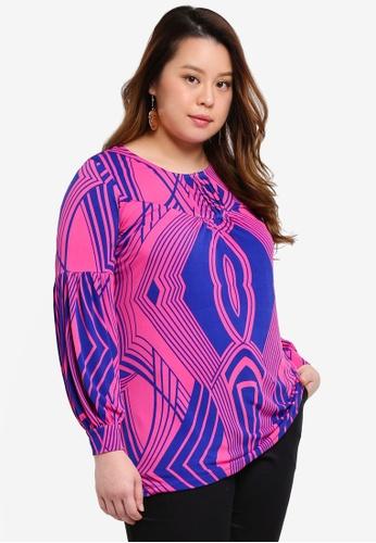 Ex'otico purple Plus Size Long Sleeve Pindarts Tunic Top F07FBAA378DCA4GS_1