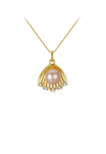 Glamorousky white 925 Sterling Silver Plated Gold Simple Fashion Shell Pink Freshwater Pearl Pendant with Cubic Zirconia and Necklace 46B31AC75F1696GS_1