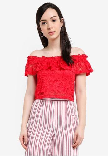 Miss Selfridge red Red Lace Bardot Top FAAEDAAD9E368FGS_1