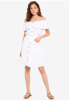 bc9c1fc50b6d 30% OFF ESPRIT Off The Shoulder Button Placket Dress S$ 99.95 NOW S$ 69.95  Sizes 32 34 36 38