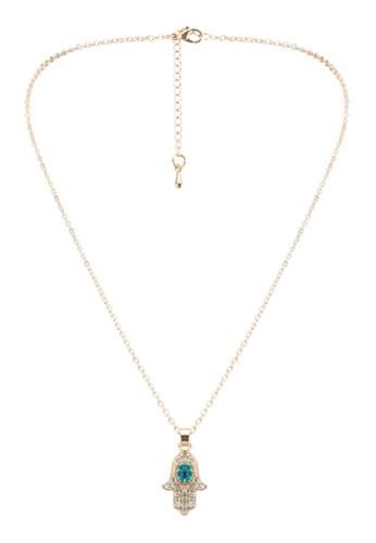Red's Revenge gold Diamante Hansa Palm Pendant Necklace RE144AC0SJ3FMY_1