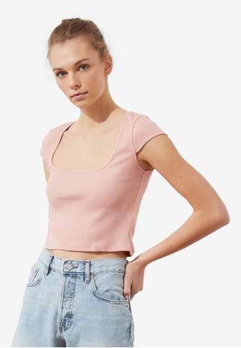 Trendyol pink Square Neck Ribbed Crop Top 13ABAAAB65A66EGS_1