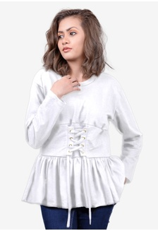 2e6d032b03f20b ... Jumper in White BA547AA0S857MY 1 Bajufoundry Sanaa Lace Up Peplum  Jumper in White RM 99.00 · EDZ Adele Ruffle Soft Cotton Blouse in Moon Beam  Ivory ...