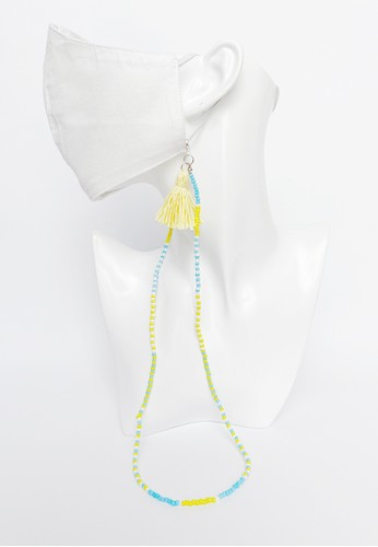 TOUGO yellow and blue Akola Face Mask Strap Lanyard Chain (Tali Kalung Masker) in Blue and Yellow Beads A270FESF9AAF8AGS_1
