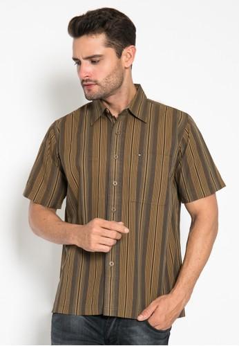 LGS brown Regular Fit - Kemeja Casual - Warna Coklat - Motif Garis Vertical 592C9AA85C895DGS_1