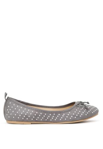 London Rag grey Grey Ballerina Flats with Silver Studs SH1700 4A9DBSHE248844GS_1