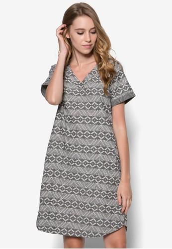 印花寬版連身裙,zalora 台灣 服飾, 服飾