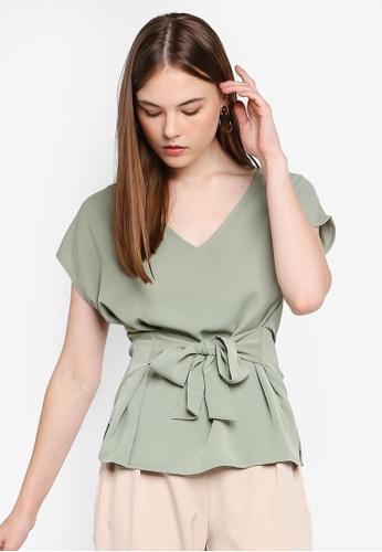FORCAST green Belen Tie Waist Top 6C708AAE898962GS_1