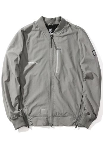 "Fingercroxx grey ""Artificial"" reflective print side zip detail bomber jacket B269AAA4910E34GS_1"