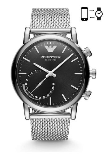 Emporio Armani silver Armani Luigi 43 Hybrid Se1 Silver Smart Watch ART3007 AR024AC0S03GMY_1