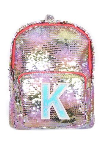 Adkidz multi ADKIDZ Reversible Sequin Backpack with Initial K 86991KC70ECF14GS_1