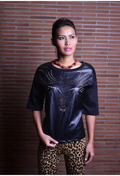 Sarah Black Leather Top
