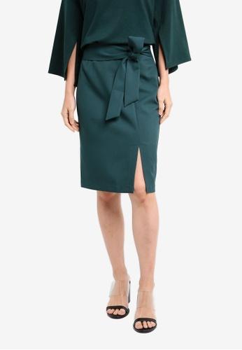 ZALORA green Soft Tailored Self Tie Skirt 2B7A6AA217E29AGS_1