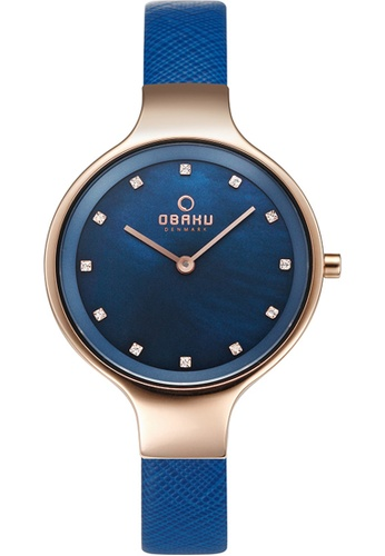 OBAKU white and gold Women's Analogue Quartz Watch in Mother of Pearl Dial and Blue Leather Strap 0DABBAC1610AABGS_1