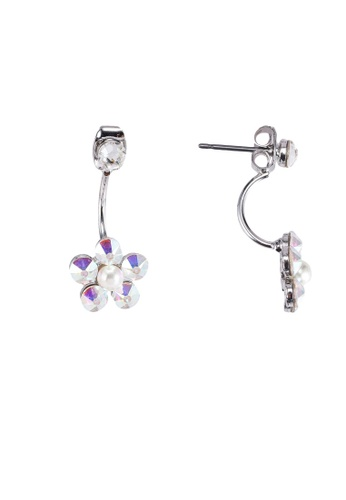 SO SEOUL white and silver Front To Back Flower Aurore Boreale Swarovski Earrings 9F086ACEA5528AGS_1