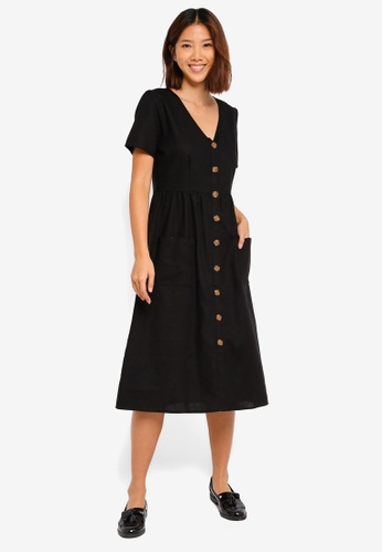 Cotton On black Woven Camila Button Through Midi Dress 27721AA5B59C75GS_1