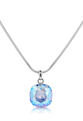 SO SEOUL blue and silver Swarovski Crystal Light Sapphire Shimmer Necklace F0D8CAC6553155GS_1