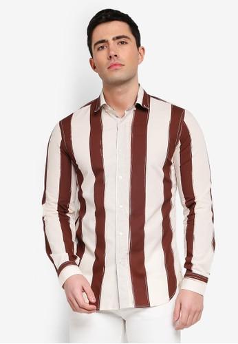 MANGO Man white and brown Slim-Fit Striped Cotton Shirt B19A1AAA0E6E32GS_1