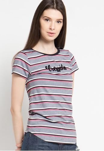 Cressida Ladies grey Basic Striped Tees CR653AA52JSTID_1