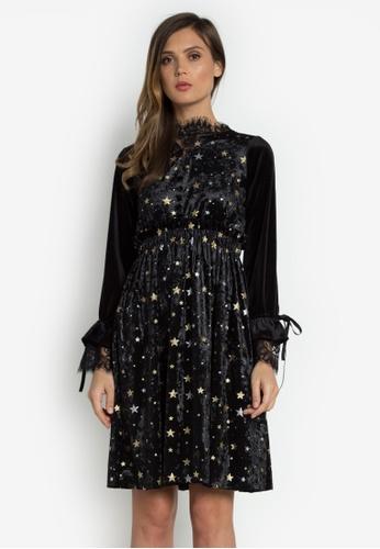 NOBASIC black Stars Velvet Long Sleeves Dress 2F9D2AA0F65F06GS_1