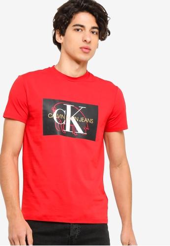 Calvin Klein 紅色 短袖LOGO修身T恤 A3C9FAA16A8BFAGS_1