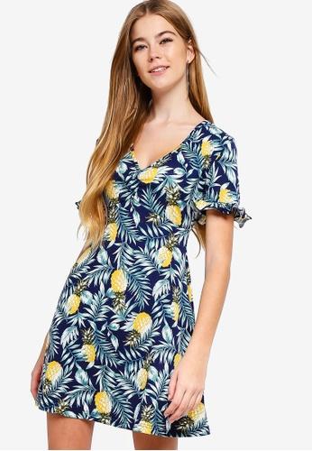 Something Borrowed navy Ruffled Skater Dress 26600AA1075B62GS_1