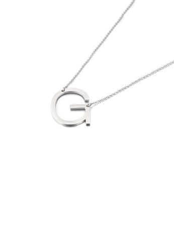 Glamorousky 銀色 簡約時尚英文字母G 316L鋼吊墜配項鏈 38973AC102D9EDGS_1