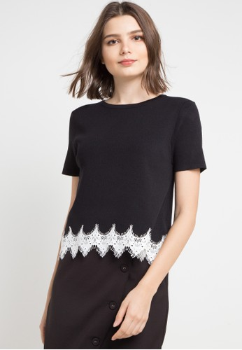 Uptown Girl black S/S Round Neck Knitted Blouse With Lace Detail On Hem 881EBAA98E536DGS_1