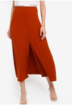 0b4d1aaa35f9 ZALORA BASICS orange Basic Button Front Maxi Skirt 08418AADFB5B9EGS_1