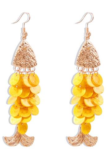 Sunnydaysweety yellow Shell Fish-Shaped Long Earrings A21032403YE B141CAC969F275GS_1