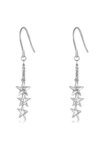 MaBelle silver 14K Red White Gold Star Dangle Earrings B223FAC60247E1GS_1