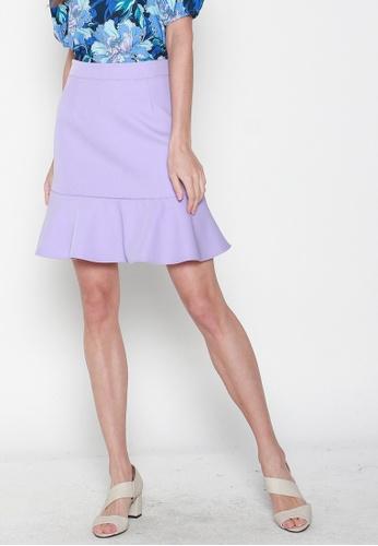 JOVET purple Fluted Hem Skirt A9FB4AAE092545GS_1