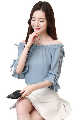 Halo blue Cold Shoulder Top (Two way) CC6DFAA1B63905GS_1