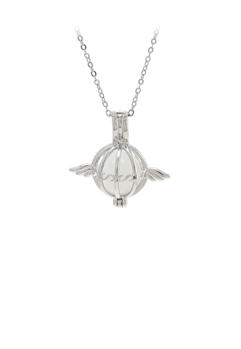 Glamorousky white 925 Sterling Silver Fashion Simple Wing Cage Pendant with Imitation Opal and Necklace 89052AC7B0FD89GS_1