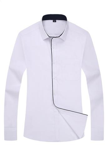 Trendyshop 白色 純色日糸修身恤衫 TR512AA09XJ9TW_1