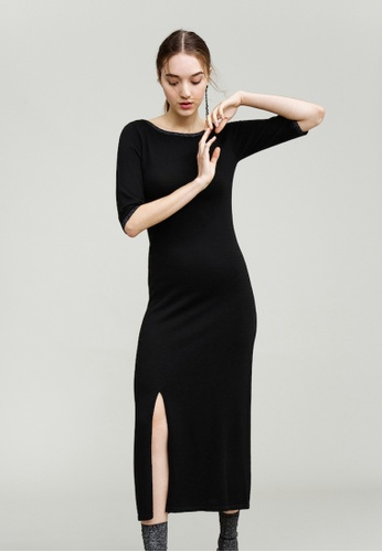KLAPS black Midi Dress with Side Slit 7D88EAA92642B3GS_1
