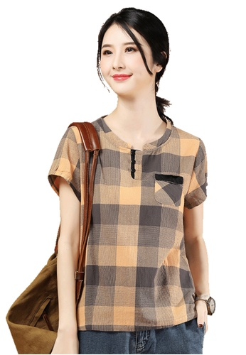 A-IN GIRLS multi Fashion Checkered Short Sleeve Blouse 00990AA4F9FC6DGS_1