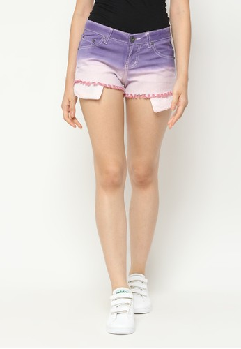 Mobile Power purple Ombre Two Color Short Pants Fringe Finishing Purple Light Pink Mobile Power Ladies - L5546 64BFEAA16B4A83GS_1