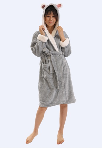 QuestChic grey and white and pink and multi Cazzy Hooded Robe 1D195AA50D242AGS_1