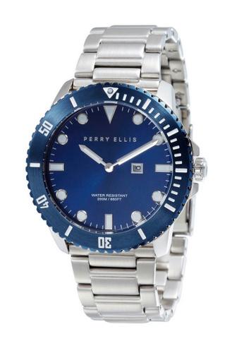PERRY ELLIS blue and silver Perry Ellis Deep Diver Unisex 42mm Quartz Stainless Steel Watch 06005-02 6D801AC8DF2EDDGS_1